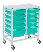 Compact Double Hospital Trolley With 10 Trays