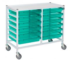 Classic Double Hospital Trolley With 12 Trays