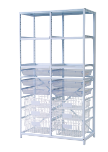 Tall double frame set with trays and baskets