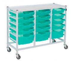 Compact Medical Storage Trolley With 15 Trays