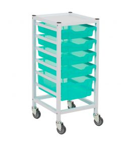 Compact Hospital Storage Trolley With 5 Trays