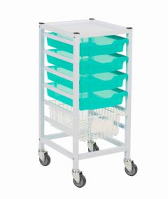 Compact Medical Trolley With Trays and Basket