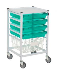 Classic Hospital Trolley With 4 Trays and Basket